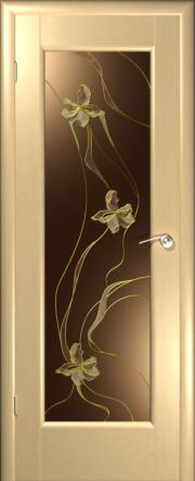 Дверь Ирис Беленый дуб  (витраж)